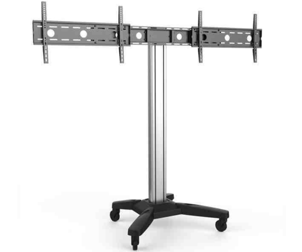 Support colonne double écran sur roulettes 37´´ - 70´´ hauteur ajustable - VESA 600x400 - H160cm (jusqu´au centre de l´écran)