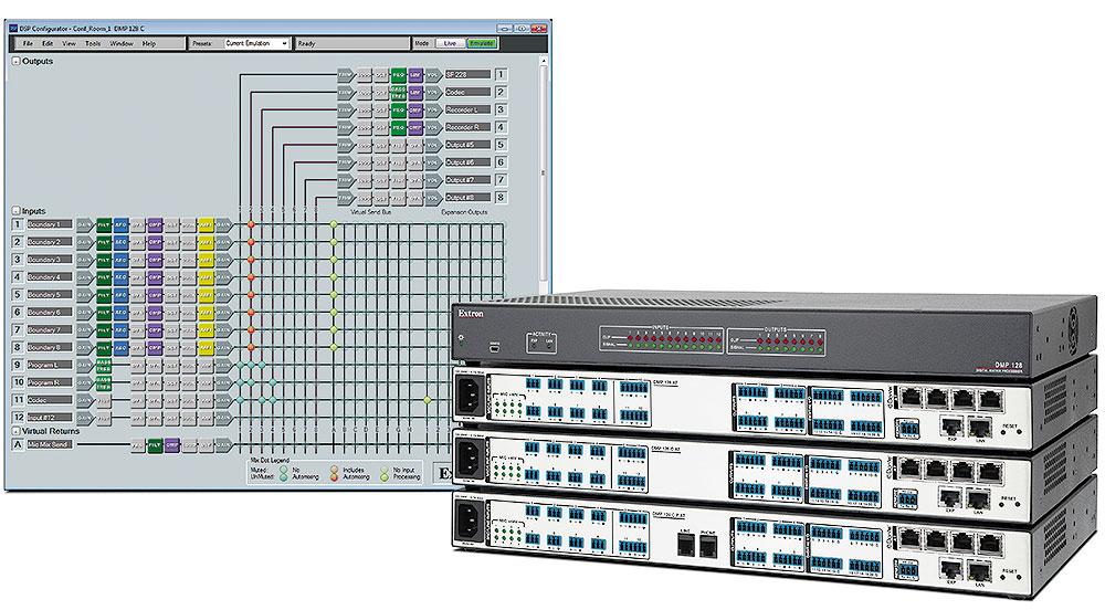 EXTRON  Extron DMP 128 C P AT - Matrice 12x8 à processeur numérique ProDSP avec AEC, POTS et Dante