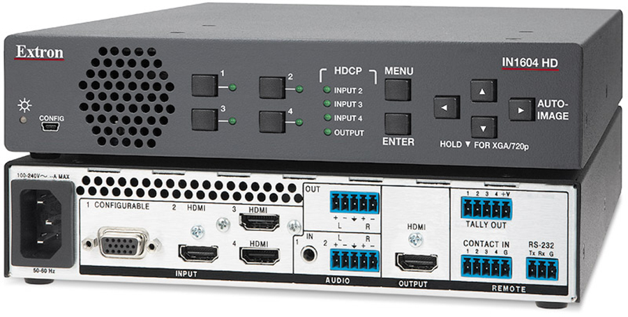 EXTRON  Extron IN1604 HD - Scaler à 3 entrées HDMI, 1 entrée audio analogique et une sortie HDMI