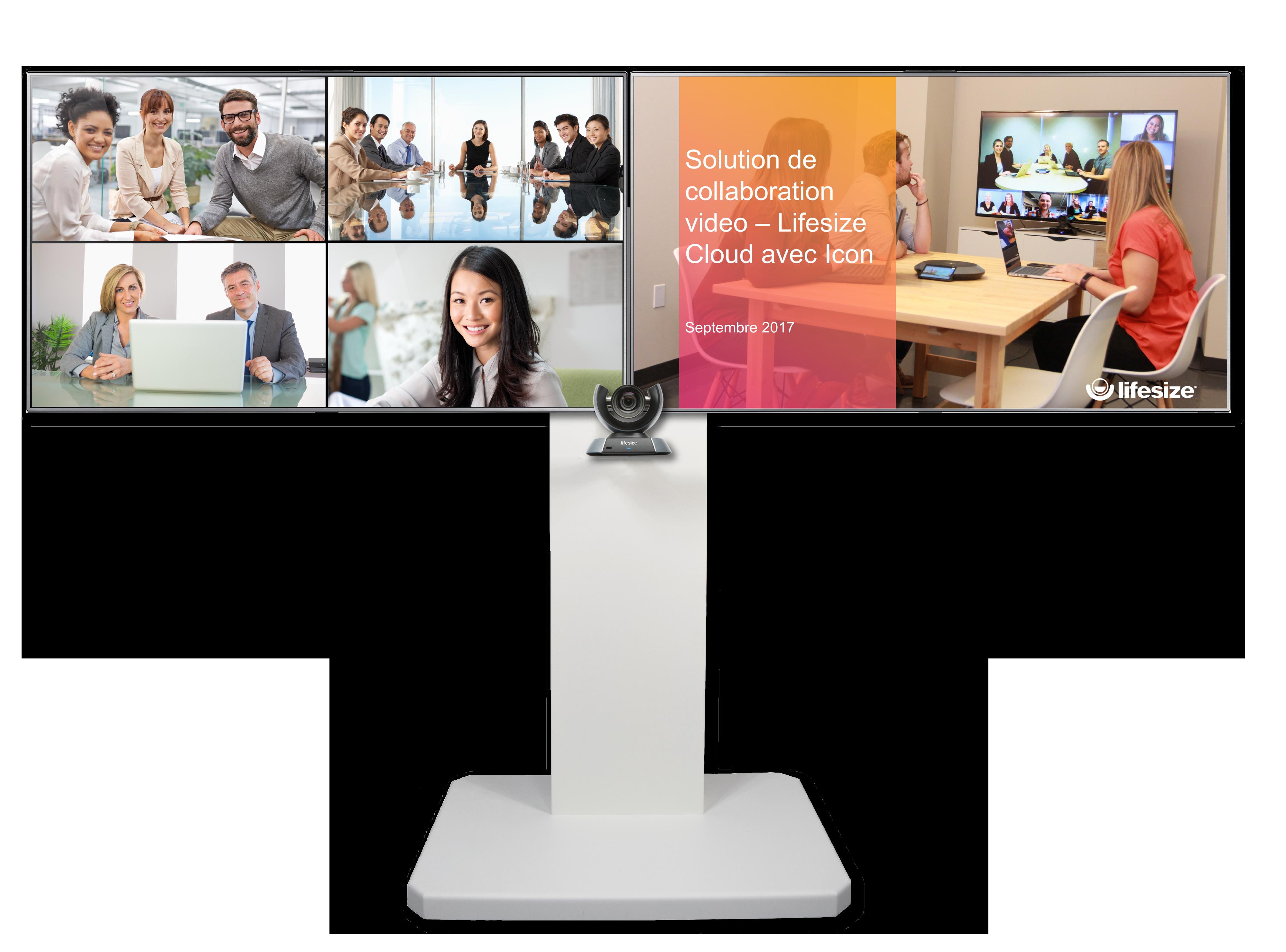 Solution visioconférence 1080p, mobile, double écran 55``, Multipoint 25 participants + 5 clients nomades