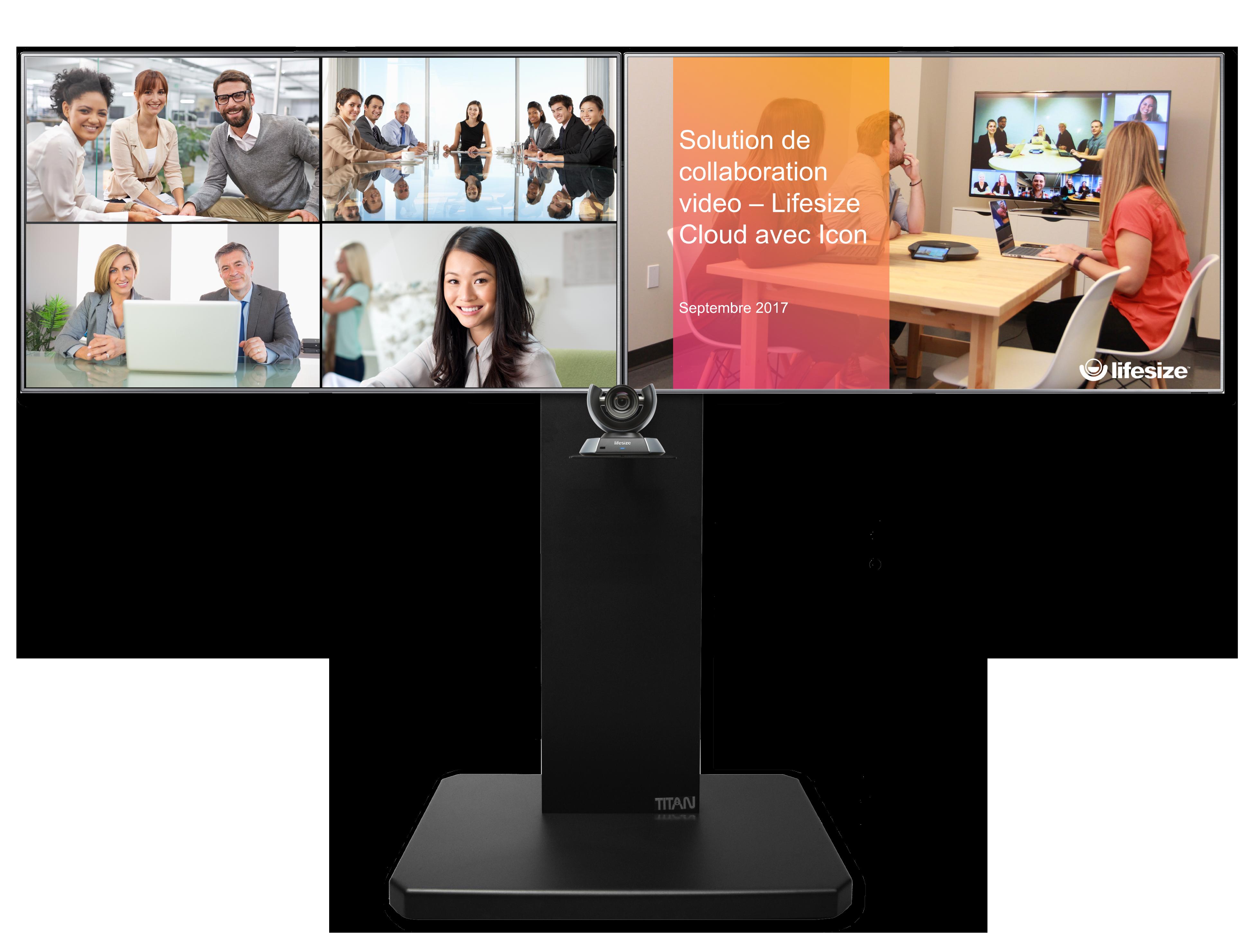 Solution visioconférence 1080p, mobile, double écran 46``, Multipoint 25 participants + 5 clients nomades