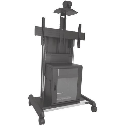 Chariot de visioconférence 37-70´´ , VESA max 800x400, avec meuble rack 11U