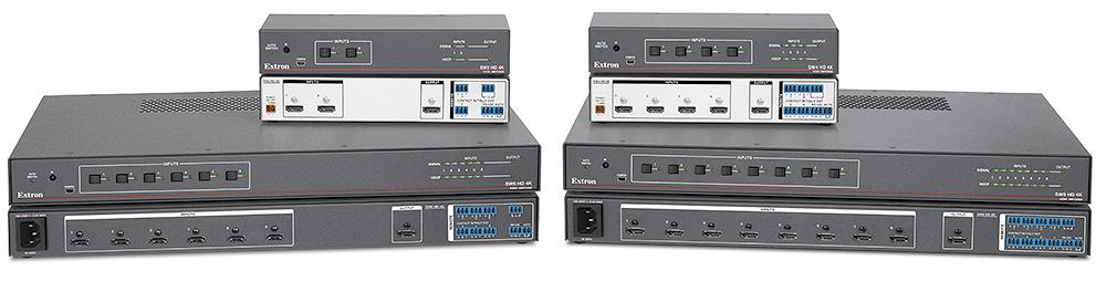 EXTRON  Extron gamme SW HD 4K - Sélecteurs HDMI 4K avec contrôle panneau avant, RS-232, IR, contact sec et commutation automatique