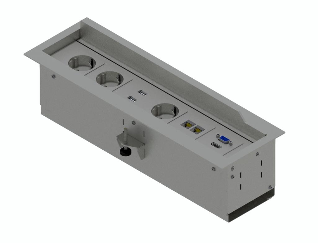 NEO6 - Boîtier de table alu, silver - 3 x 230V, 2 x HDMI, 2 x VGA, 2 x LAN Cat.6