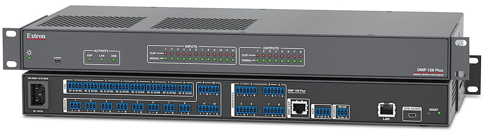 EXTRON  Extron DMP 128 Plus - Matrice 12x8 à processeur numérique ProDSP - autres modèles disponibles avec AEC, POTS, VoIP, Dante