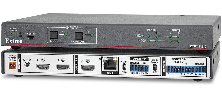 DTP2 T 212 - Sélecteur HDMI 4K/60 à deux entrées avec émetteur DTP2 intégré et sortie HDMI