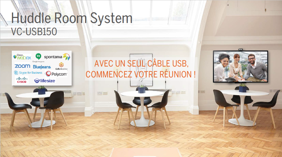 Huddle Room System avec hub USB3, camera grand angle, speakerphone