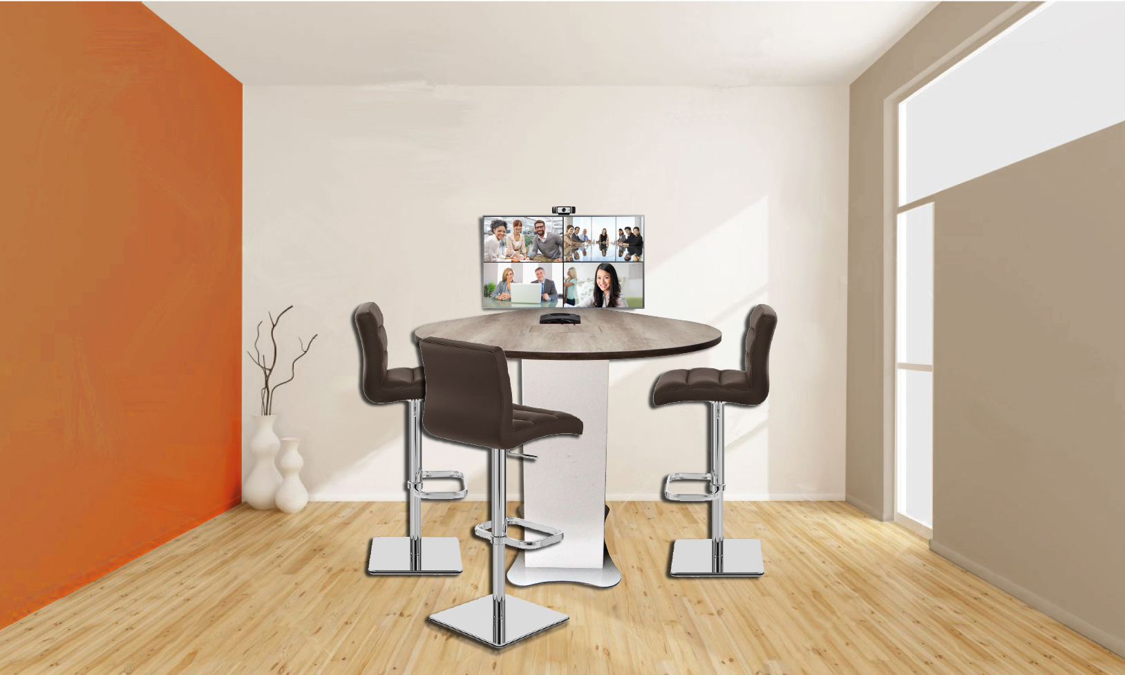 TABLE DE REUNION L 1900 x l 1300 x H 750 mm plateau mélaminé HR 25mm + support moniteur + Webcam + Hub USB + Chat 150 + Ecran 43´´ + câbles