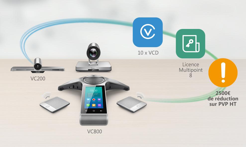 YEALINK Yealink Bundle VC800 + VC200, Licence Multipoint 8, 10 Licences VC Desktop et 10 Licences VCMS offertes !