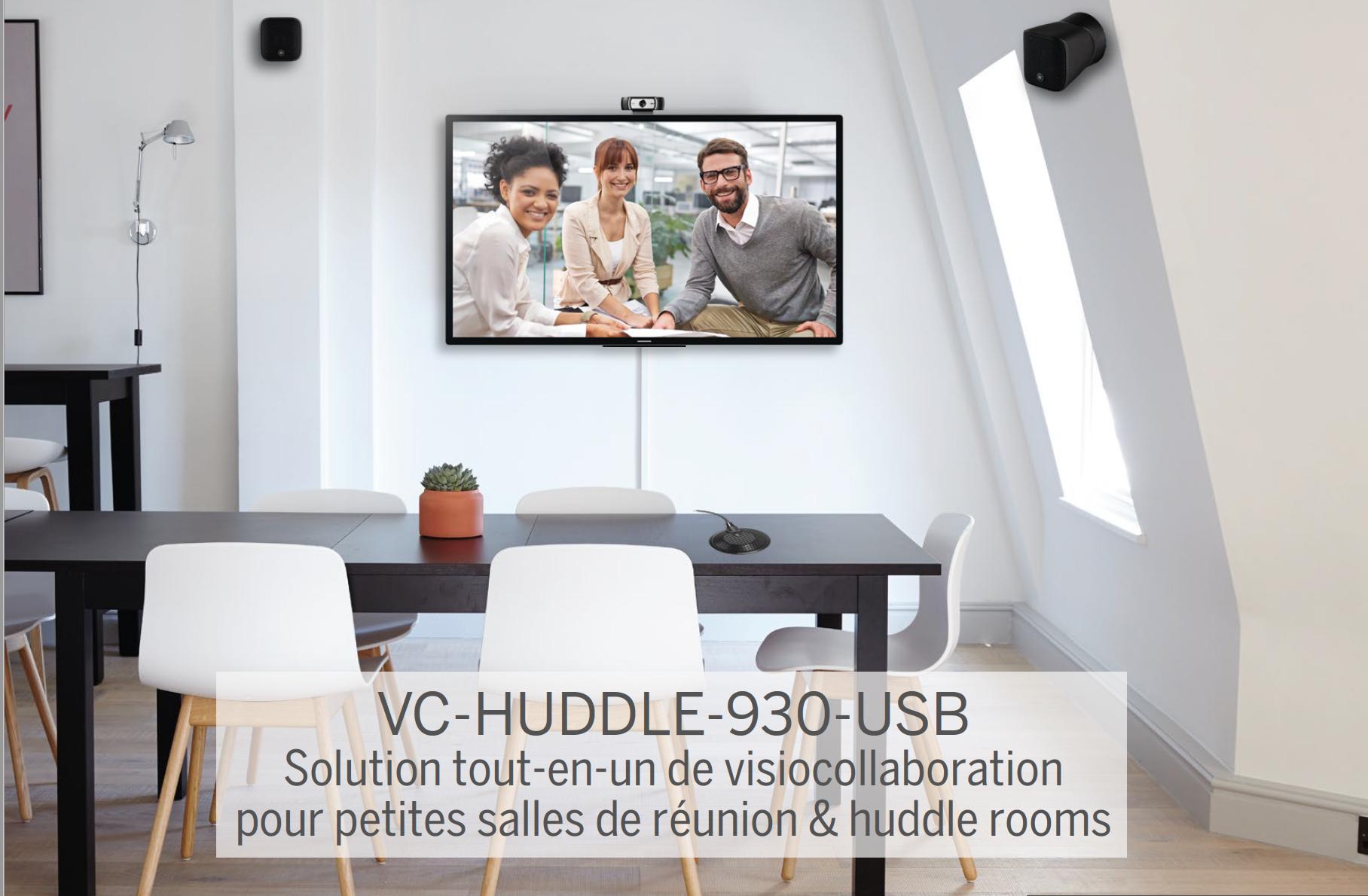 Bundle de visiocollaboration avec mixeur DSP Converge Huddle, Micro table omnidirectionnel, 2 x enceintes professionnelles compactes VXS1ML et une webcam