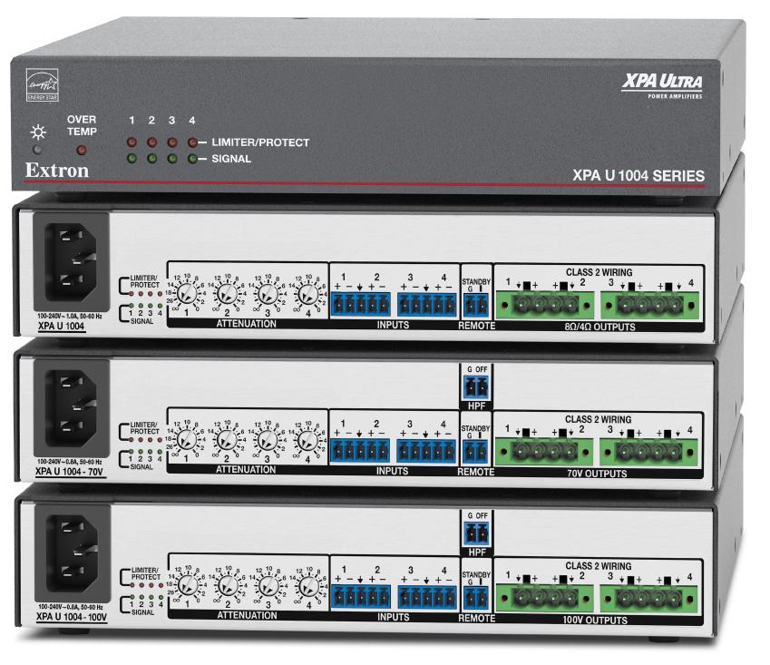 EXTRON  Extron XPA U 1004 - Amplificateur basse impédance à quatre canaux - 100W par canal - Disponible en 8 ou 4 Ohms, 70 V et 100 V