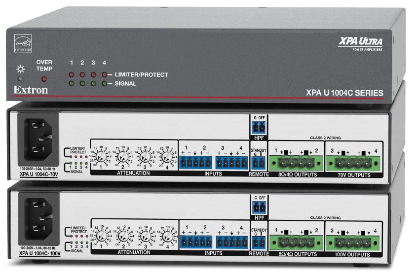 EXTRON  Extron XPA U 1004 C - Amplificateur combiné à quatre canaux - 100W par canal - 2 canaux en 8 ou 4 Ohms et 2 canaux en 70 V ou 100 V