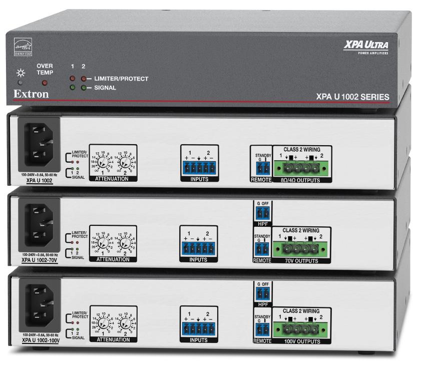 EXTRON  Extron XPA U 1002 - Amplificateur basse et haute impédance à deux canaux - 100W par canal - Disponible en 8 ou 4 Ohms, 70 V et 100 V