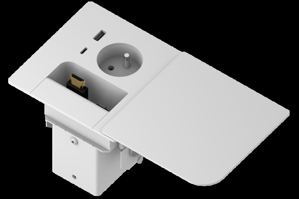 PANCONNECT PanConnect FLOPPY - Boitier de connectique avec 2 câbles rétractables et couvercle