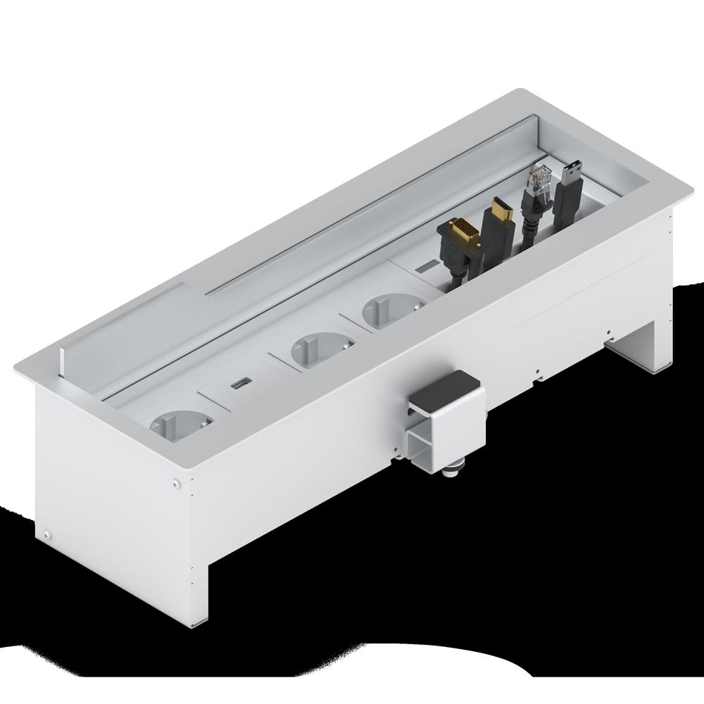 PANCONNECT Panconnect UNI - Gamme de boitiers de connectique avec câbles retractables - Blanc, Silver ou Noir