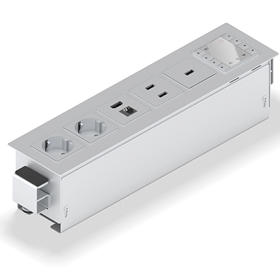 PANCONNECT Panconnect FLAT - Gamme de boitiers de connectique avec 4 ou 6 modules - Blanc, Silver ou Noir