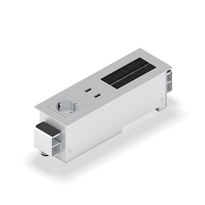 Panconnect FLAT-LT - Boitier de connectique - Bloc Alimentation, USB, LAN et passe-câbles - Blanc, Silver ou Noir