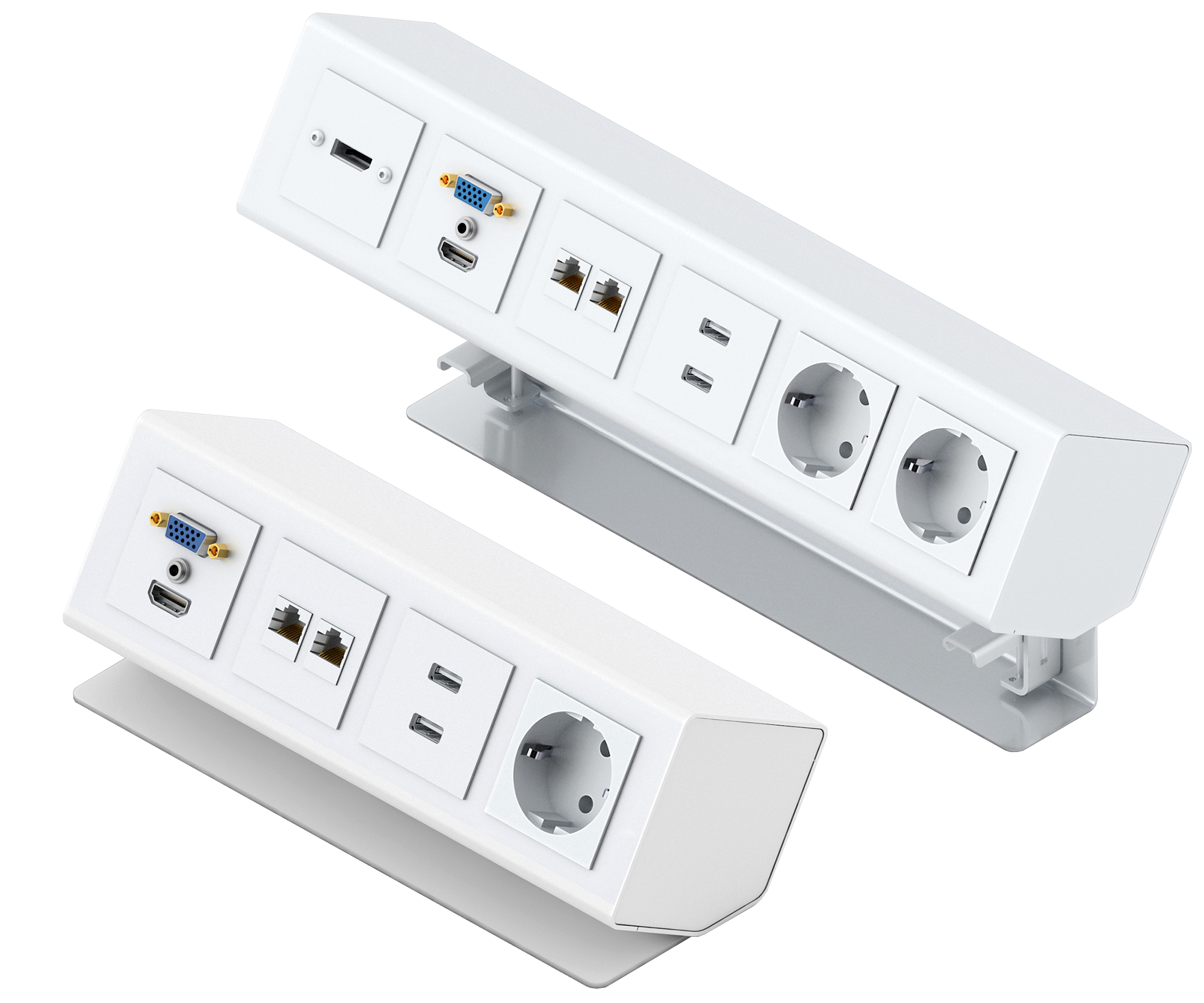 PanConnect MINI - Boitier de connectique à poser ou à monter sur table- Bloc Alimentation + USB et Modules de prises de câbles - Blanc, Silver ou Noir