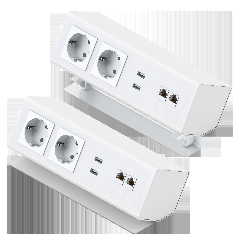 Panconnect MINI-LT - Boitier de connectique à poser ou à monter sur table - Bloc alimentation + USB + LAN - Blanc, Silver ou Noir