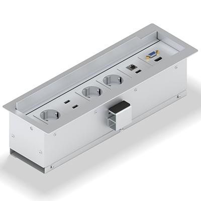 Panconnect NEO - Boitier de connectique avec couvercle - Bloc Alimentation, USB, modules de connectique - Blanc, Silver ou Noir
