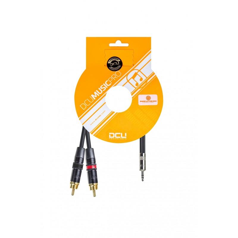 DCU TECNOLOGIC DCU Technologic Câble Audio Pro Jack 3.5 Stéréo Mâle à 2 x RCA Mâle - Noir