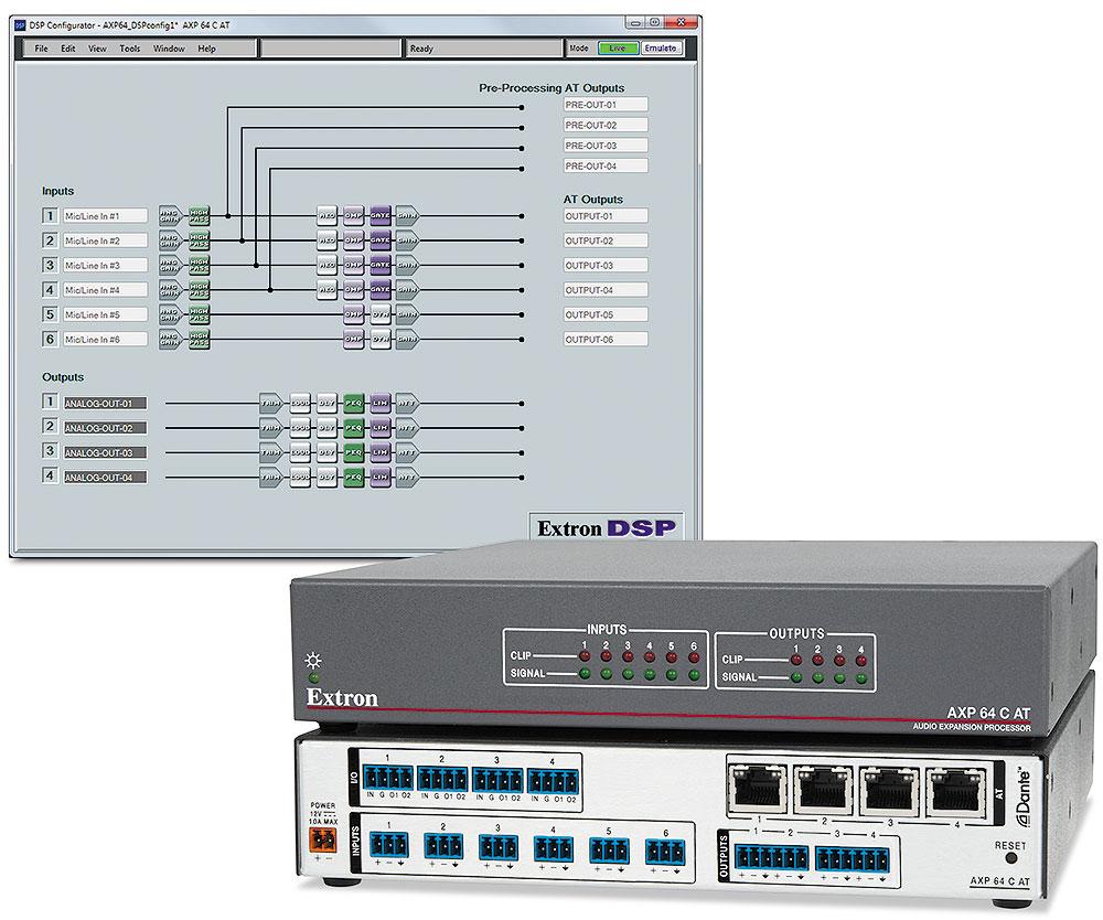 EXTRON  Extron AXP 64 C AT - Processeur d´expansion audio 6x4 avec AEC et Dante