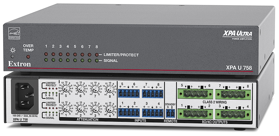EXTRON  Extron XPA U 758 - Amplificateur basse impédance à huit canaux - 75W par canal