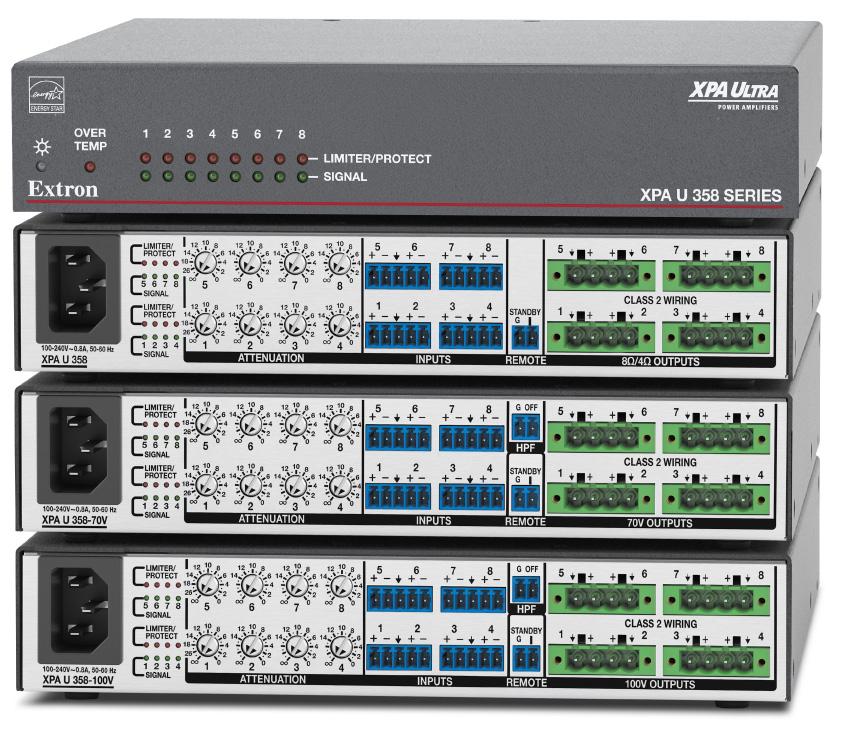 EXTRON  Extron XPA U 358 - Amplificateur basse et haute impédance à huit canaux - 35W par canal - Disponible en 8 ou 4 Ohms, 70 V et 100 V