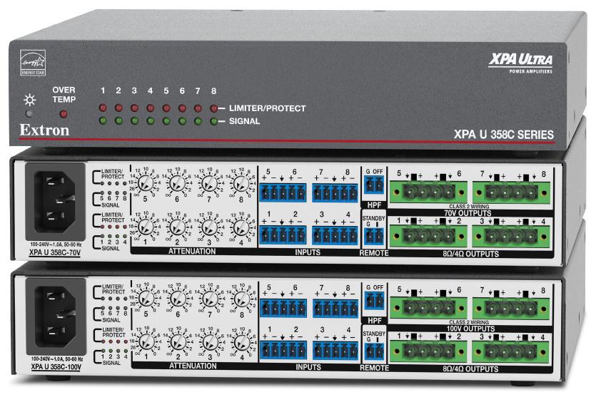 EXTRON  Extron XPA U 358 C - Amplificateur combiné à huit canaux - 35W par canal - 4 canaux en 8 ou 4 Ohms et 4 canaux en 70 V ou 100 V
