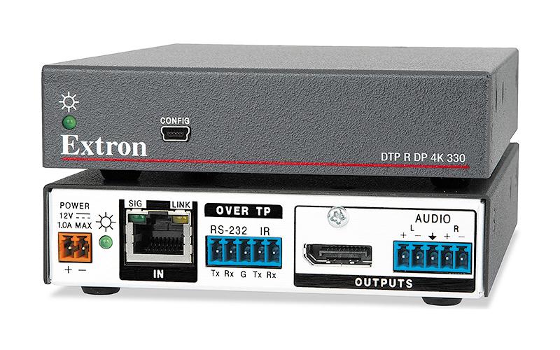 Extron DTP R DP 4K 330 - Récepteur DTP DisplayPort - Compatible HDBaseT - Réception des signaux DisplayPort, de contrôle et audio analogique jusqu´à 100m sur un câble CATx blindé