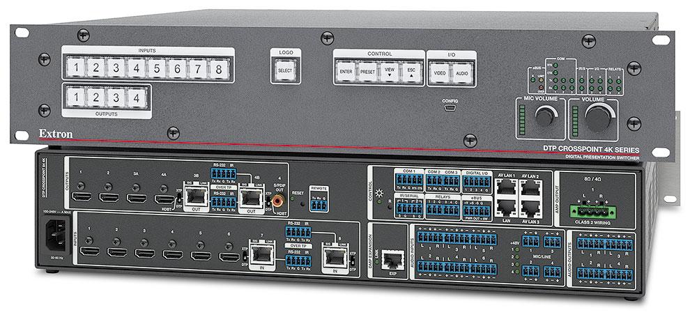 Extron DTP CrossPoint 84 4K IPCP SA - Grille de commutation 8x4 avec scaler 4K, processeur de contrôle et amplificateur stéréo - Compatible HDBaseT - 6 entrées HDMI, 2 entrées DTP, 2 sorties HDMI