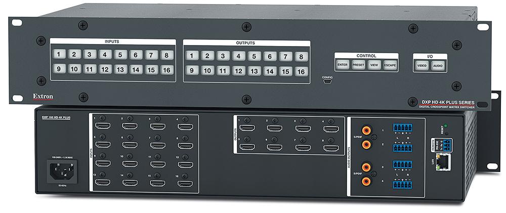 Extron DXP 168 HD 4K Plus - Grille de commutation HDMI 4K/60 avec désembeddage audio - 16x8 avec 2 sorties audio