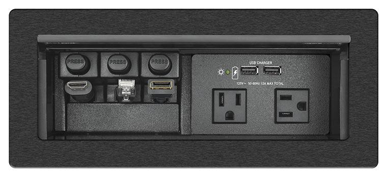 Boîtier d´accès aux câbles pour la connectivité audiovisuelle, le contrôle à distance, et l´alimentation, d