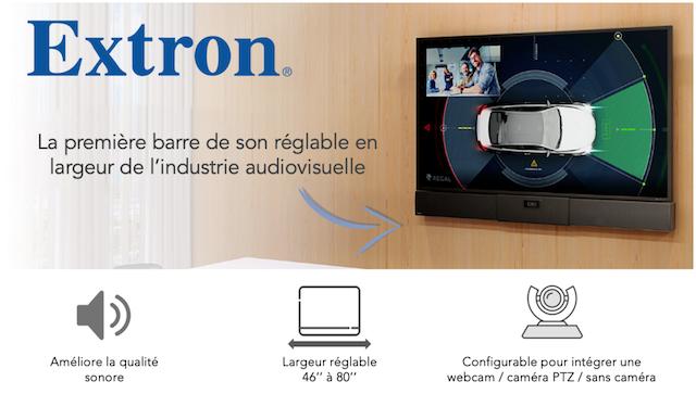DWPRO- Extron : la première barre de son réglable en largeur qui s´adapte à vos écrans